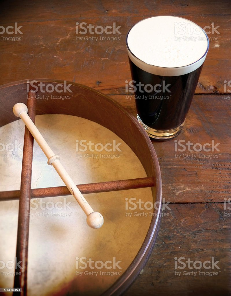 Traditional Irish Scene with Bodhran Drum and Pint Of Stout stock photo