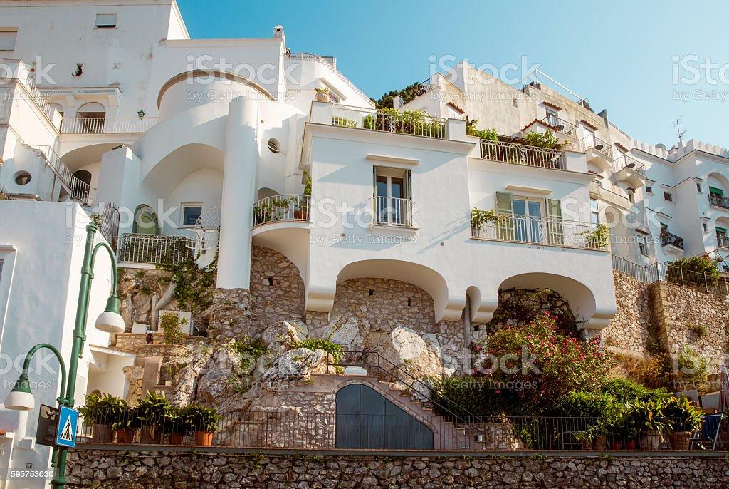 Traditional italian architecture on Capri Island, Italy stock photo