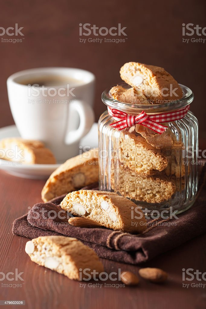 traditional italian cantuccini cookies and coffee stock photo