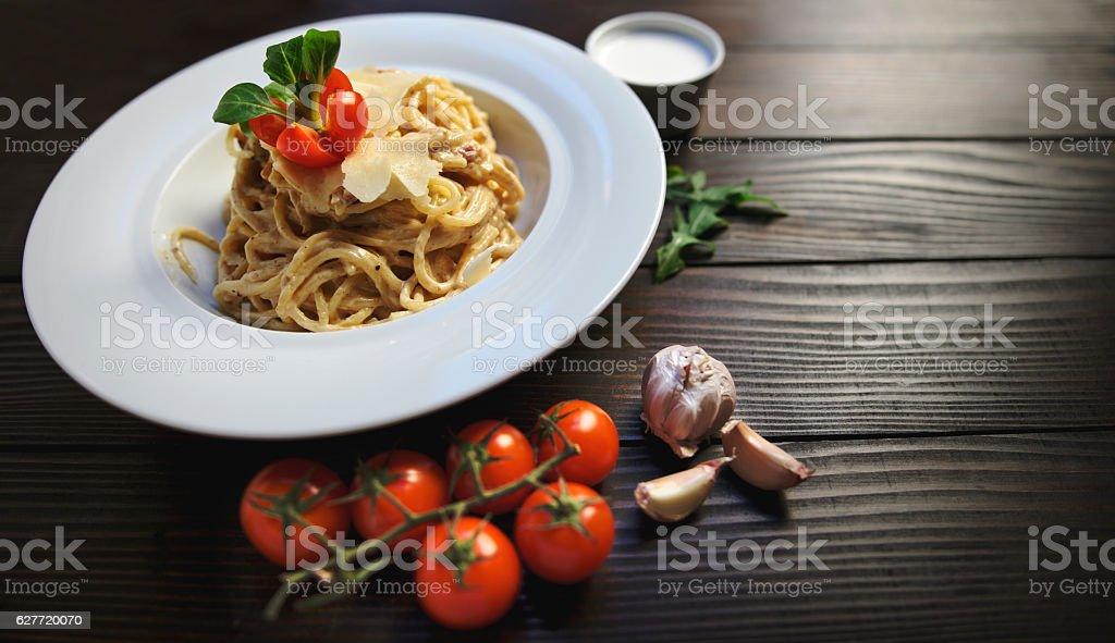 Traditional italian carbonara pasta stock photo