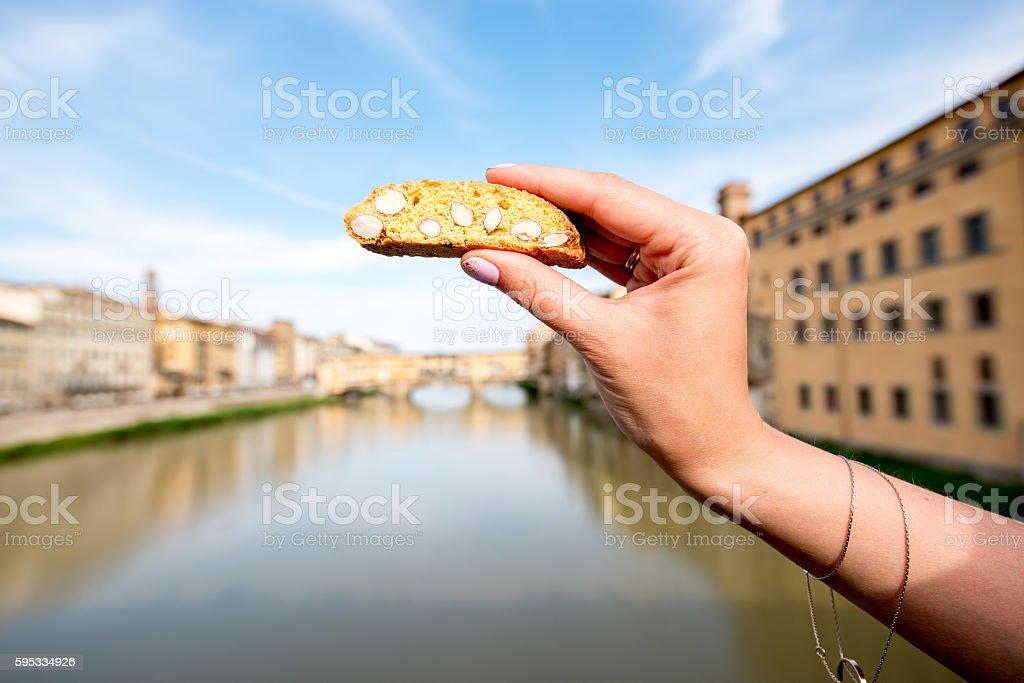 Traditional italian cookie in Florence stock photo