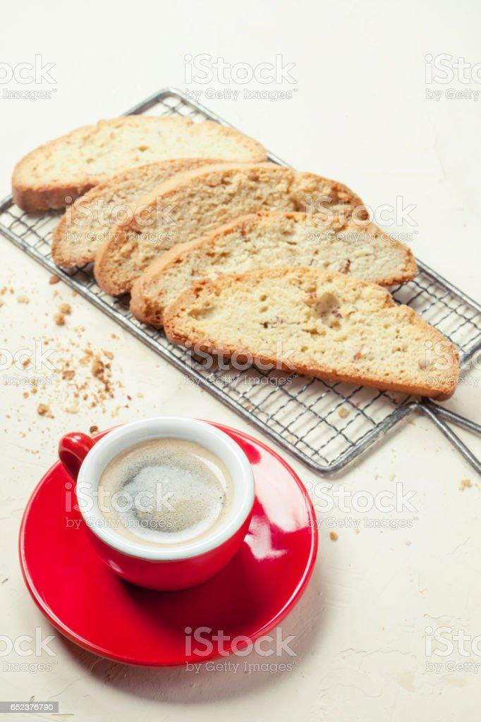Traditional italian cookies and coffee stock photo