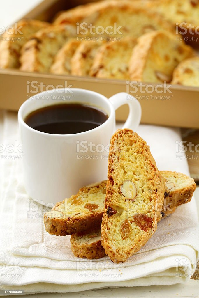 traditional Italian cookies biscotti  with almonds royalty-free stock photo
