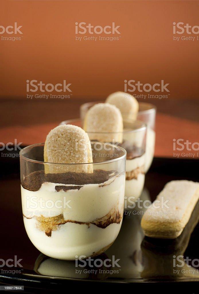 Traditional Italian dessert -  Tiramisu' dessert. stock photo
