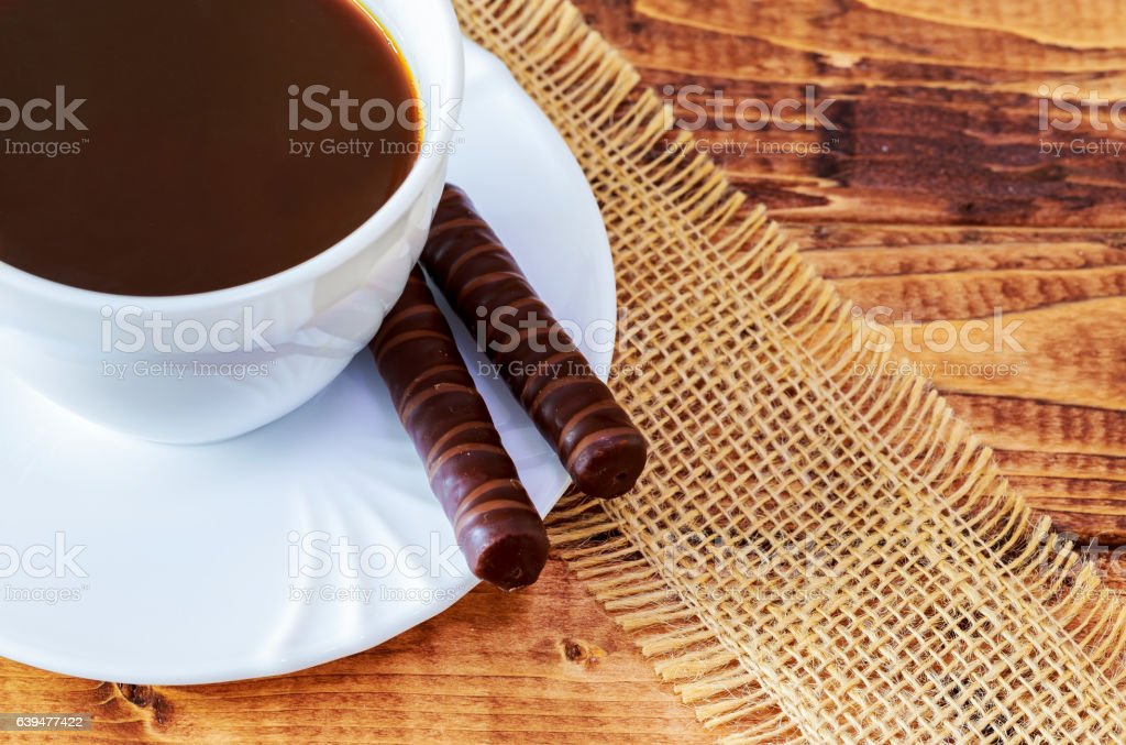 Traditional Italian food. Cantuccini cookies with black coffee stock photo