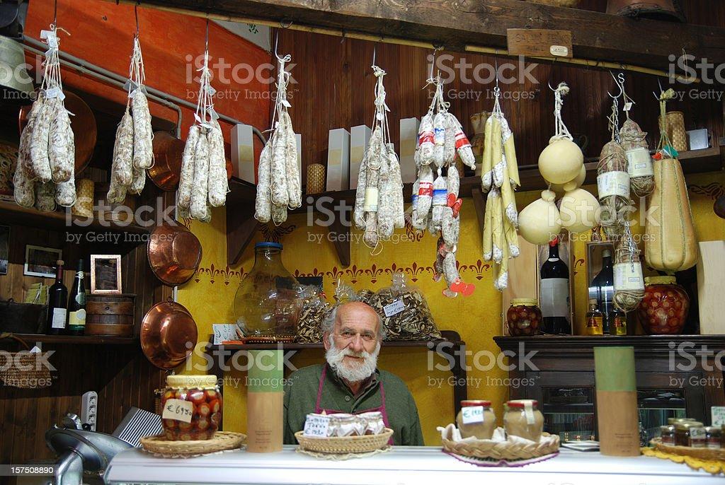 Traditional Italian food store stock photo