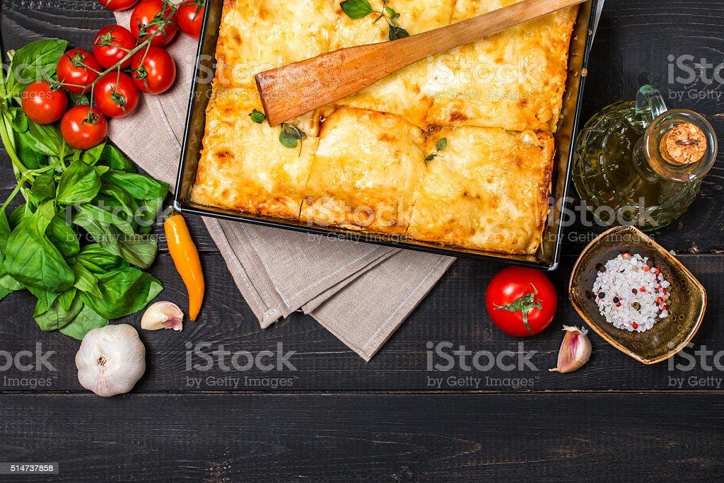 Traditional italian lasagna stock photo