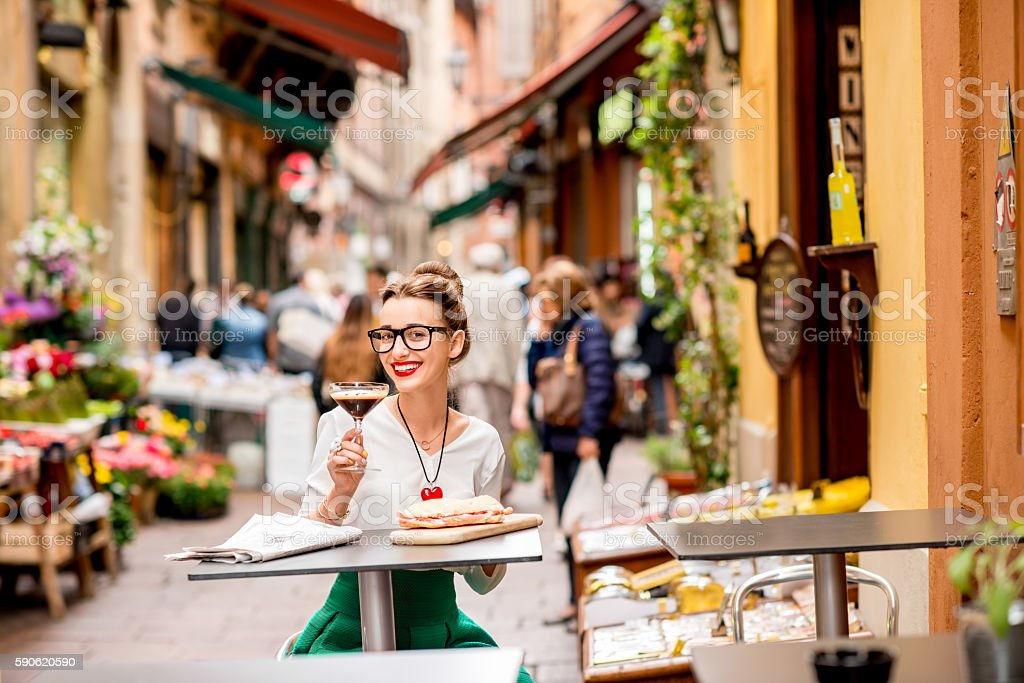 Traditional italian lunch with shakerato drink and panini stock photo