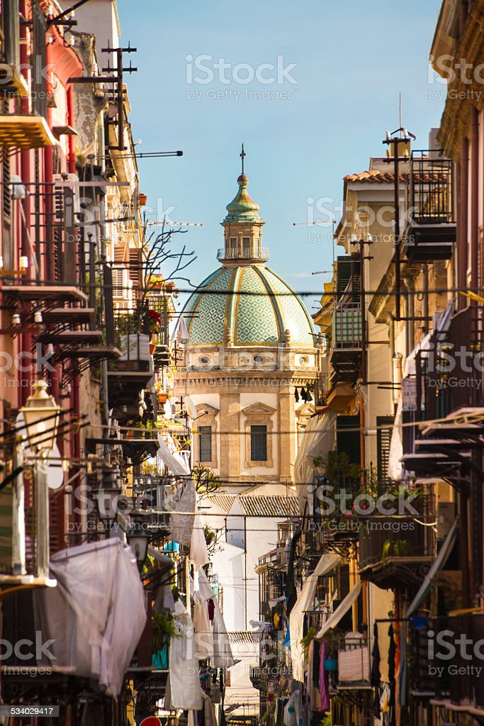 Traditional Italian medieval narrov street in Plermo. stock photo