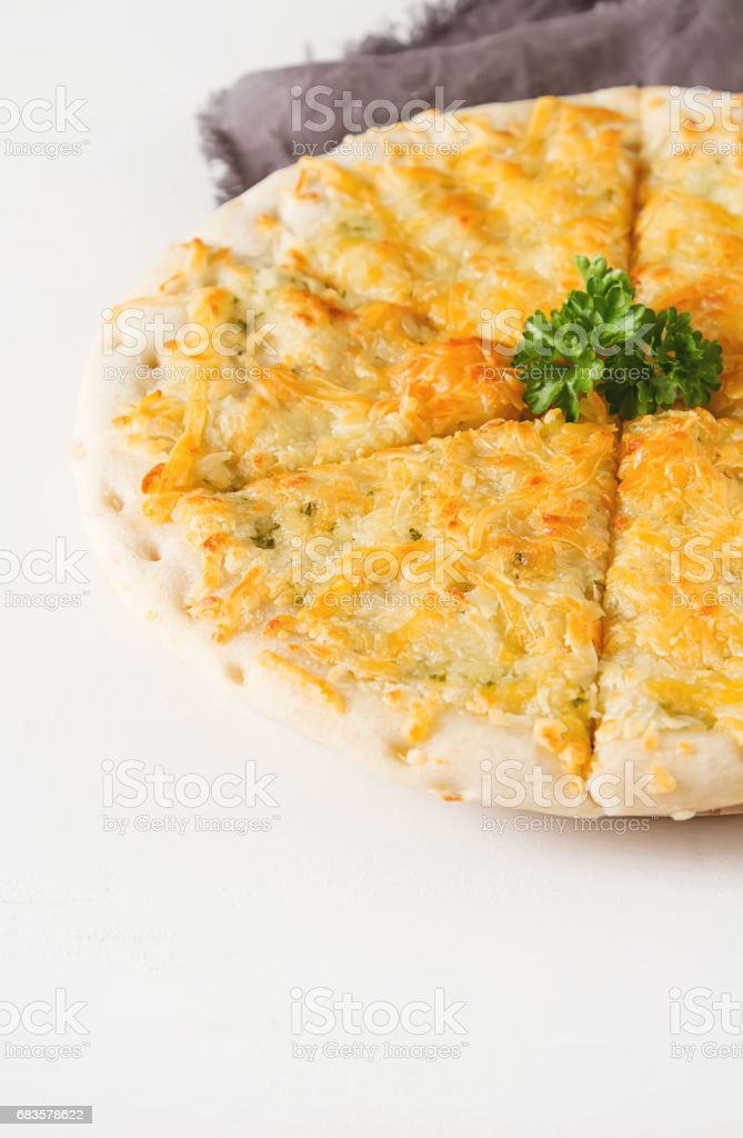 Traditional Italian pizza with cheese. Fast food. Not a diet. White background. stock photo