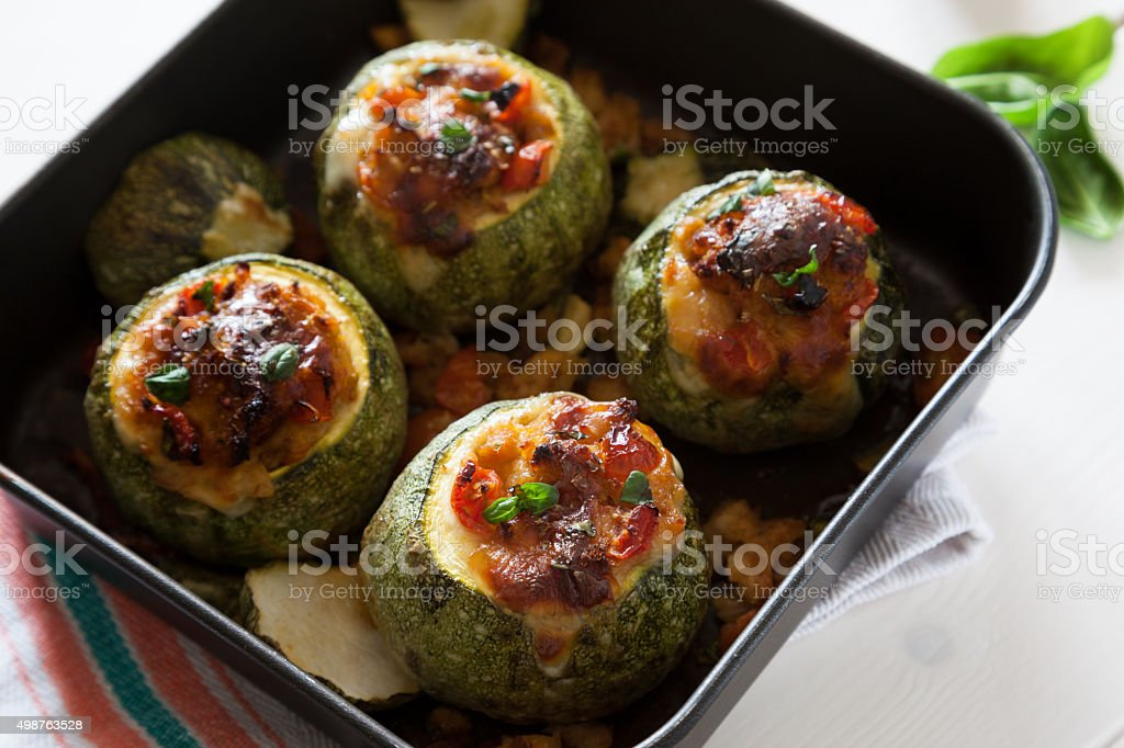 traditional italian recipe of stuffed zucchini baked stock photo