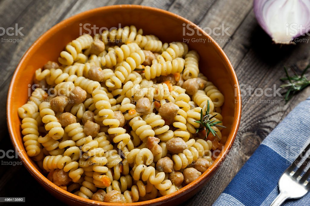 traditional Italian recipe with pasta and chickpeas stock photo