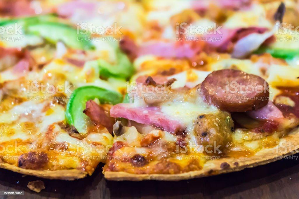 Traditional italian supream pizza. stock photo