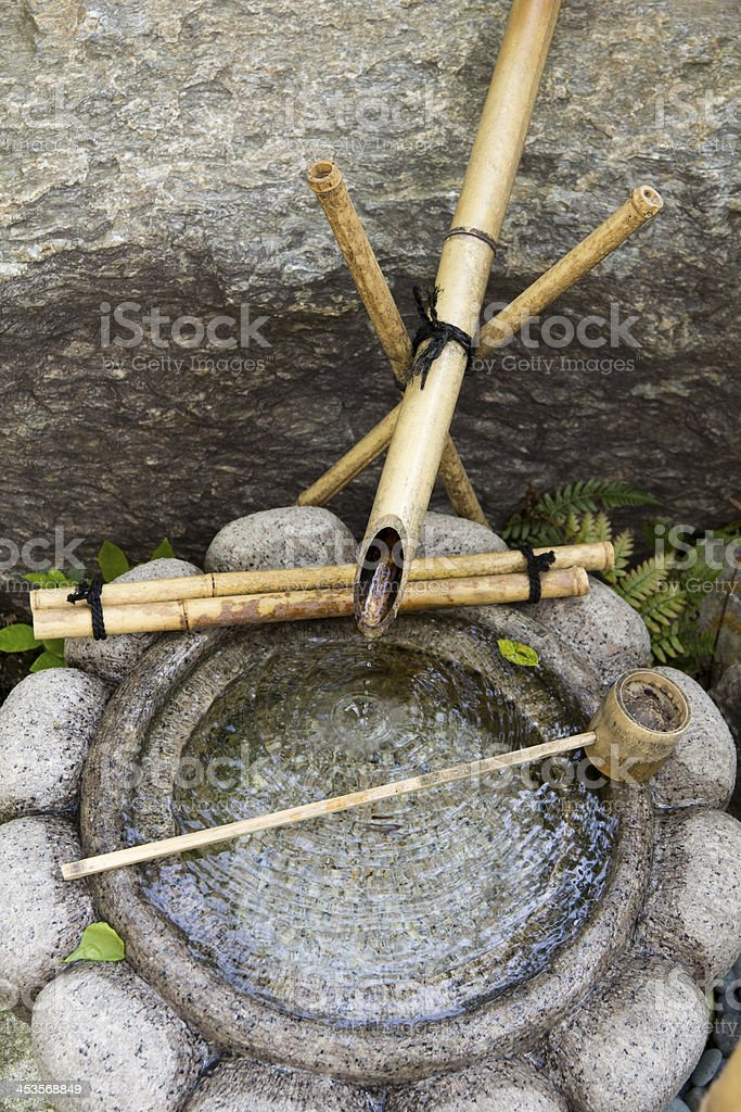 Traditional Japanese Bamboo Water Fountain stock photo