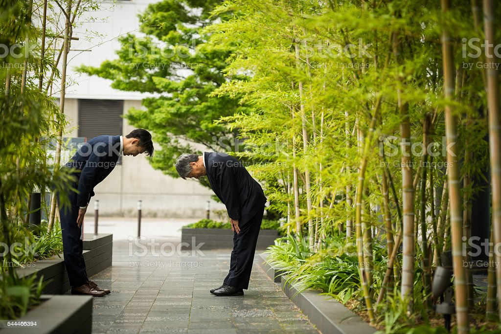 Traditional Japanese business greeting stock photo