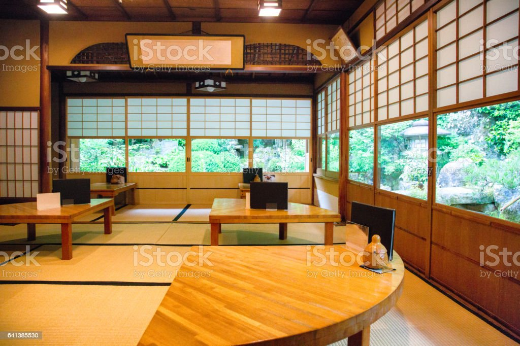 Traditional Japanese coffee shop dining room restaurant cafe stock photo