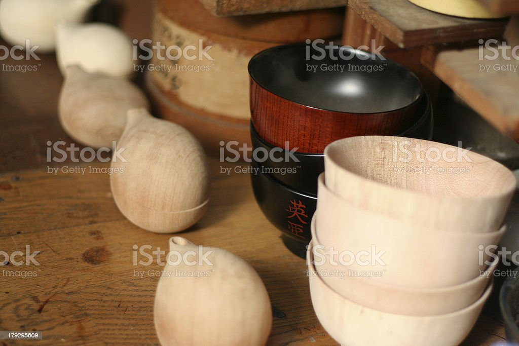 Traditional Japanese crafted wood tableware royalty-free stock photo