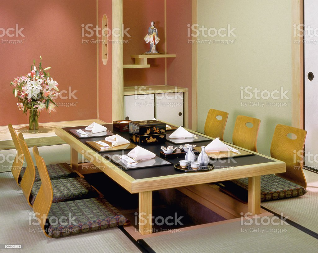 Traditional Japanese Dining Table, Tokyo, Japan royalty-free stock photo