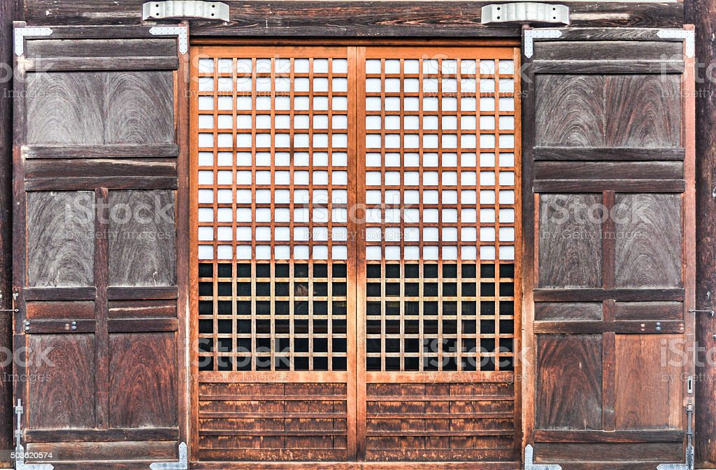 Traditional Japanese Door stock photo
