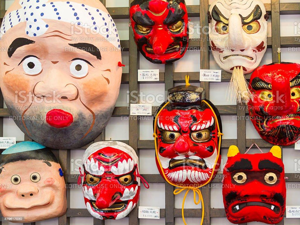 Traditional Japanese Face Masks stock photo