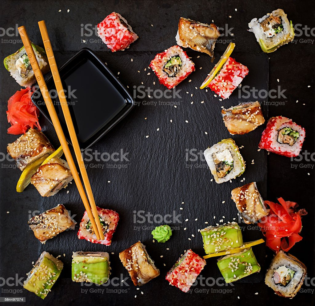 Traditional Japanese food - sushi, rolls and sauce stock photo