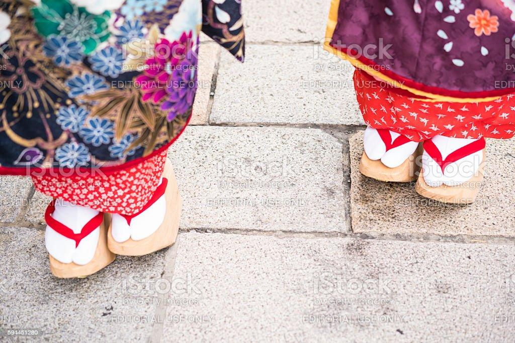 Traditional Japanese footwear Geta on street in Gion, Japan stock photo