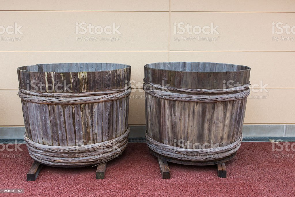 traditional japanese histroical wooden basket at toei studio kyoto japan stock photo