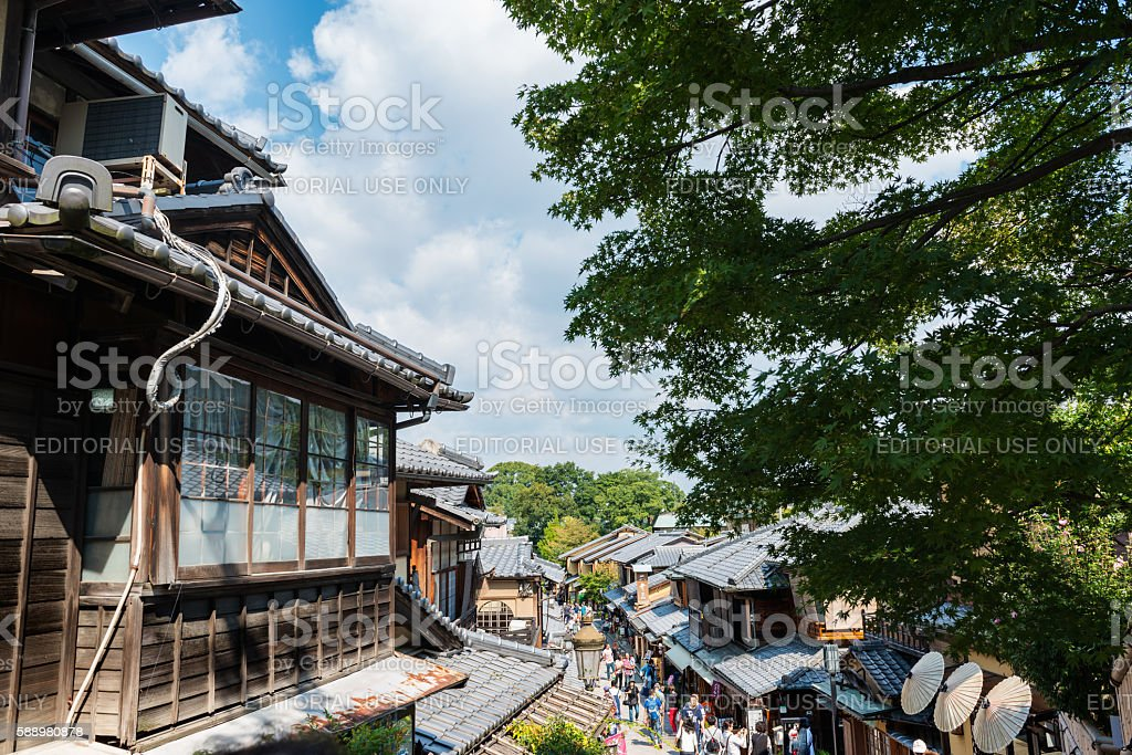 Traditional Japanese houses in Sannenzaka and Ninenzaka in Kyoto stock photo