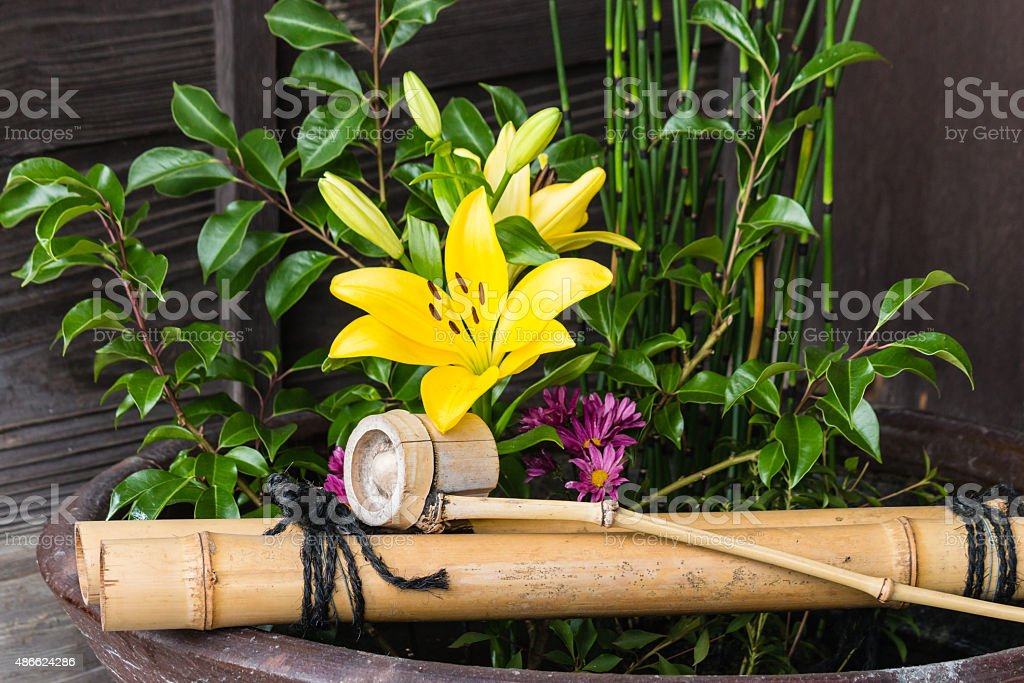 traditional Japanese ikebana stock photo