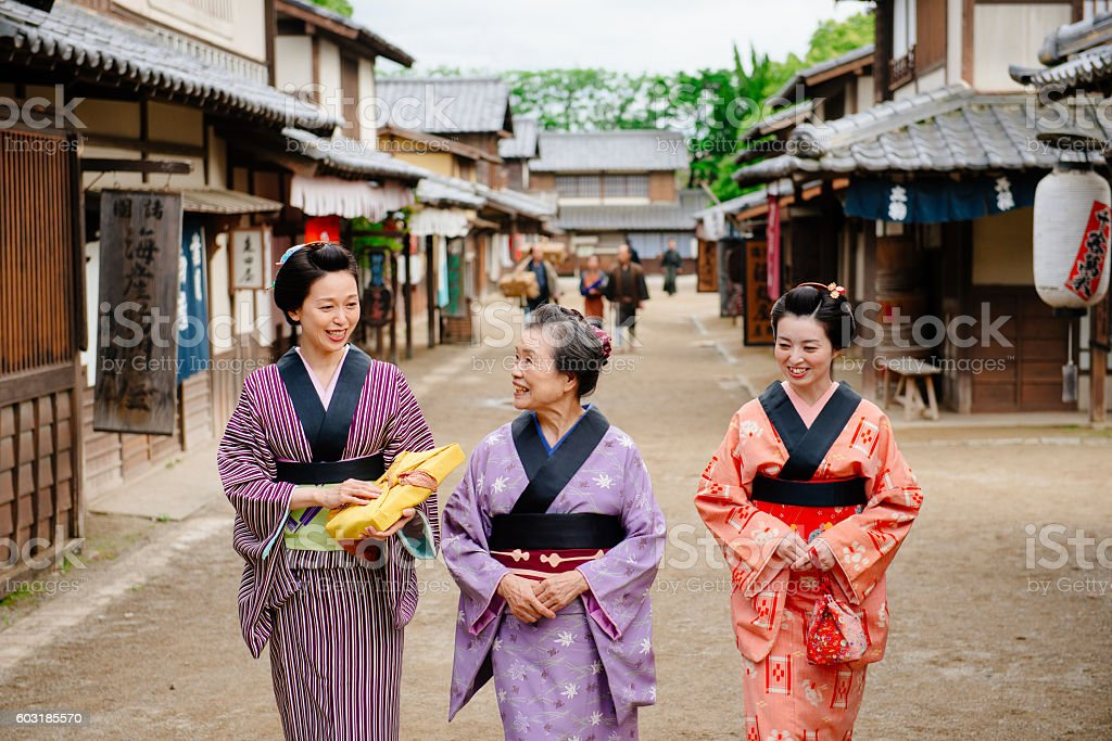 Traditional Japanese people in historical village stock photo