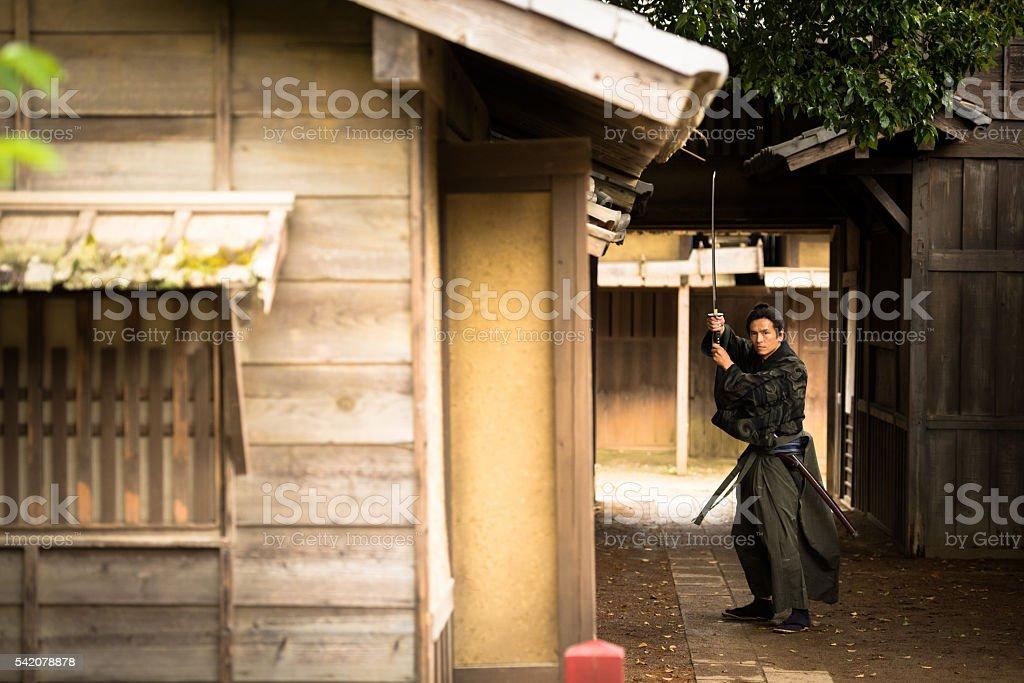 Traditional Japanese Ronin Samurai stock photo