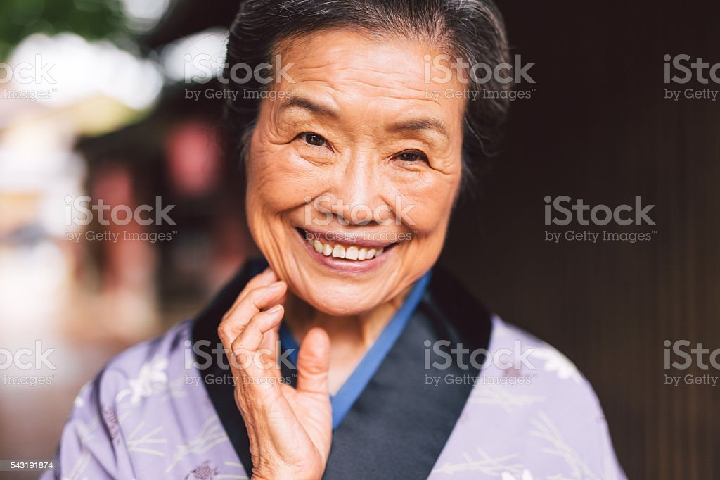 Traditional Japanese Senior Woman stock photo