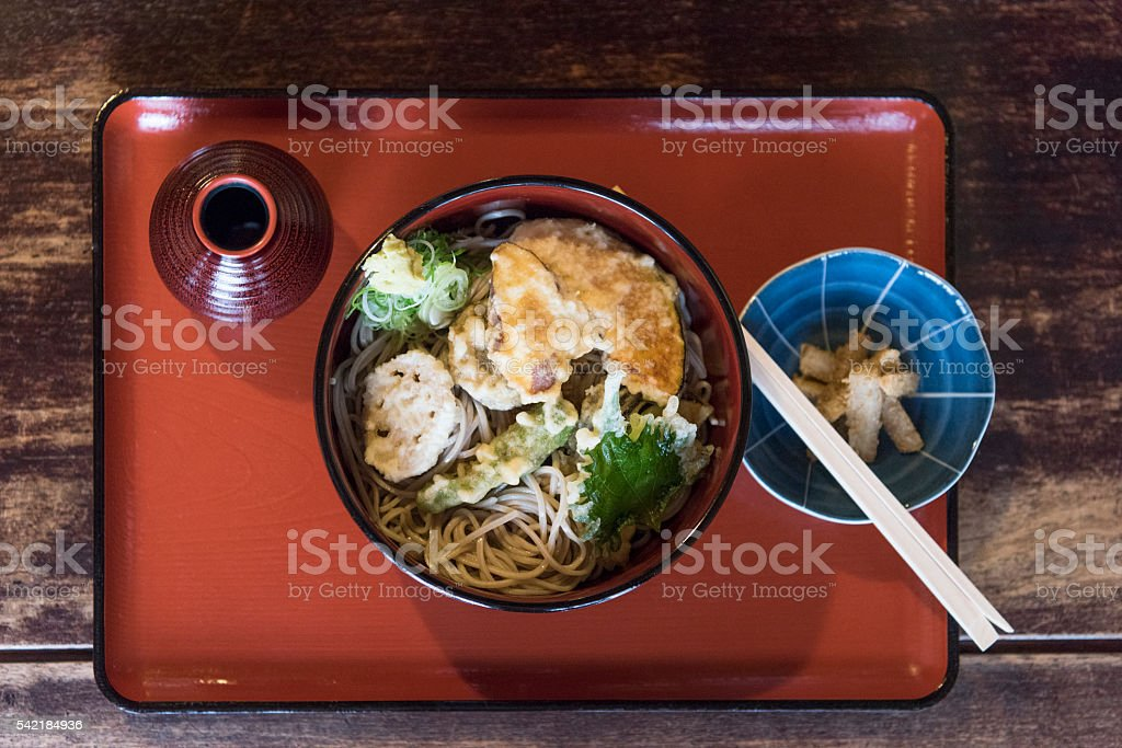 Traditional Japanese soba noodle dish in restaurant stock photo