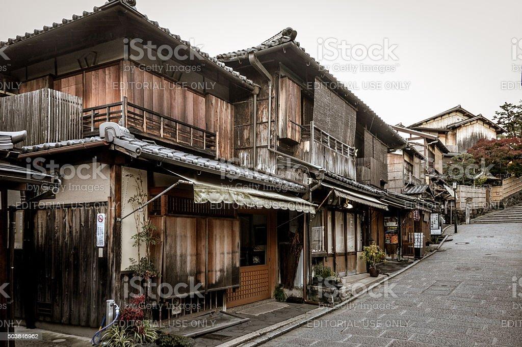 Traditional Japanese street leading to Kiyomizu-dera temple - Kyoto, Japan stock photo