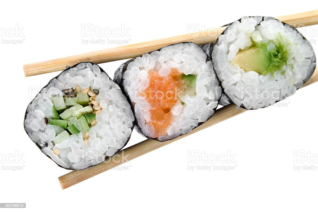 Traditional japanese sushi isolated on white stock photo