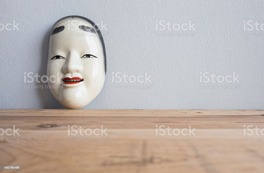 Traditional japanese theater masks made of iron stock photo