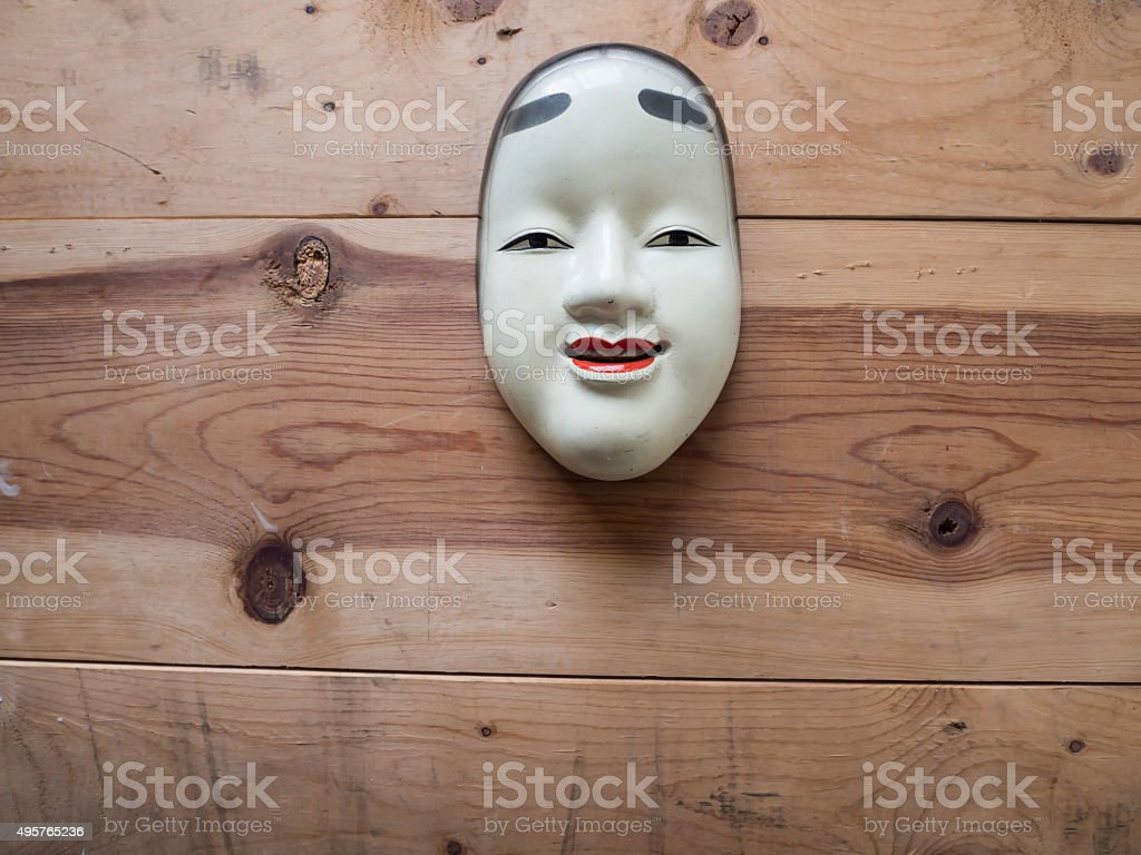 Traditional japanese theater masks stock photo