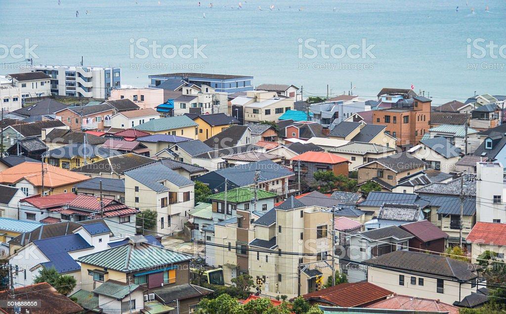 Traditional Japanese town rooftops - Kamakura stock photo