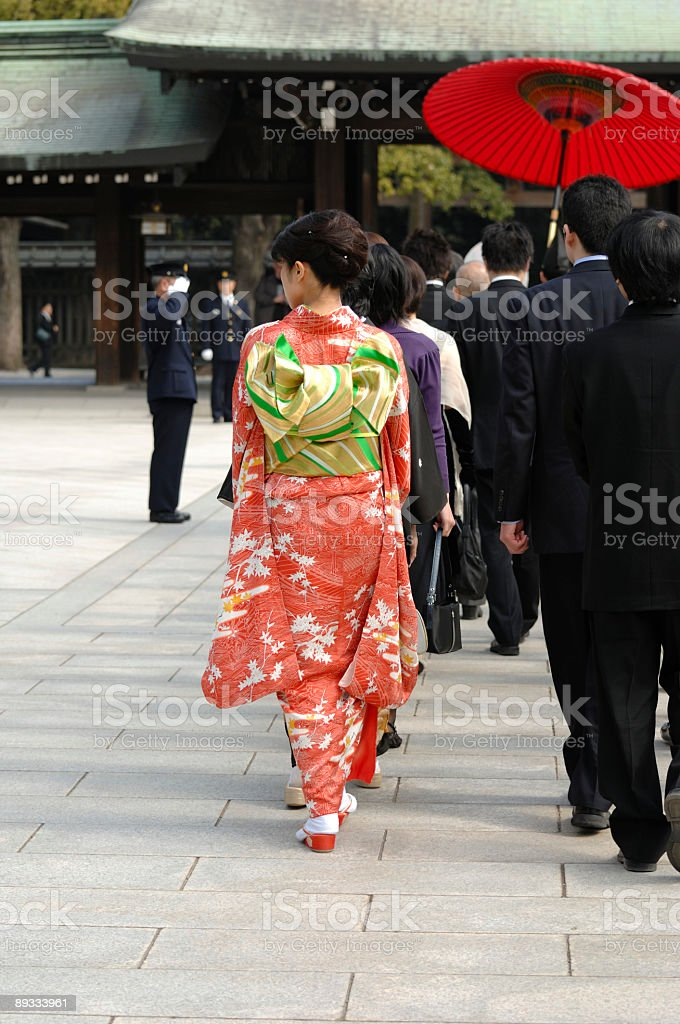 Traditional Japanese wedding - the bride's maid royalty-free stock photo