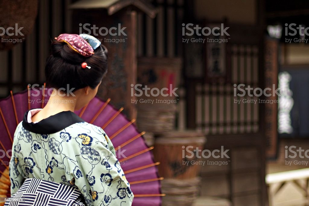 Traditional Japanese Woman   with umbrella in Edo Period stock photo