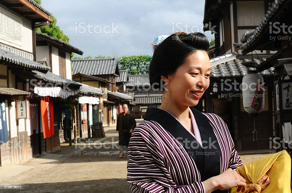 Traditional Japanese women in japanese village stock photo
