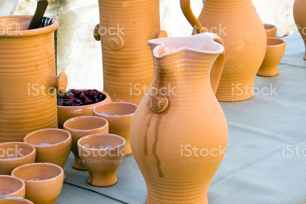 Traditional Jar on a linen tablecloths. royalty-free stock photo