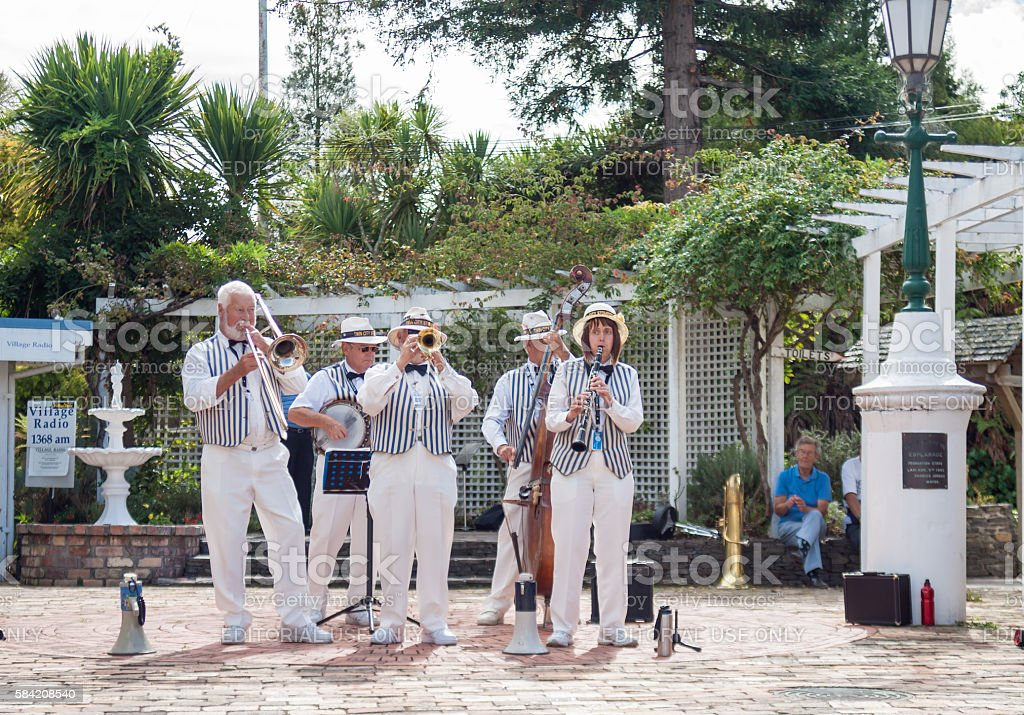 Traditional jazz band perform stock photo