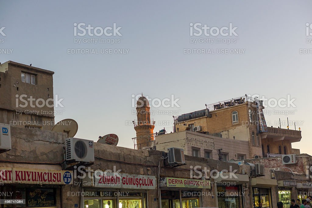 traditional jewelery shops at main street of  mardin turkey stock photo