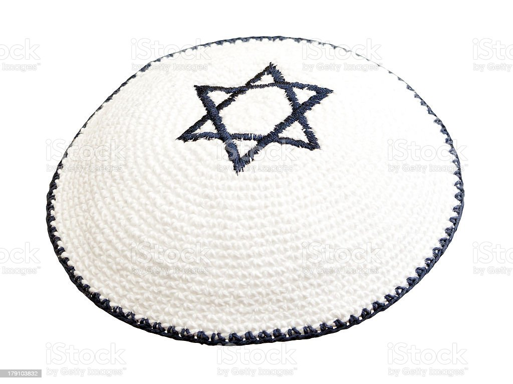Traditional jewish headwear with embroidered star of David royalty-free stock photo