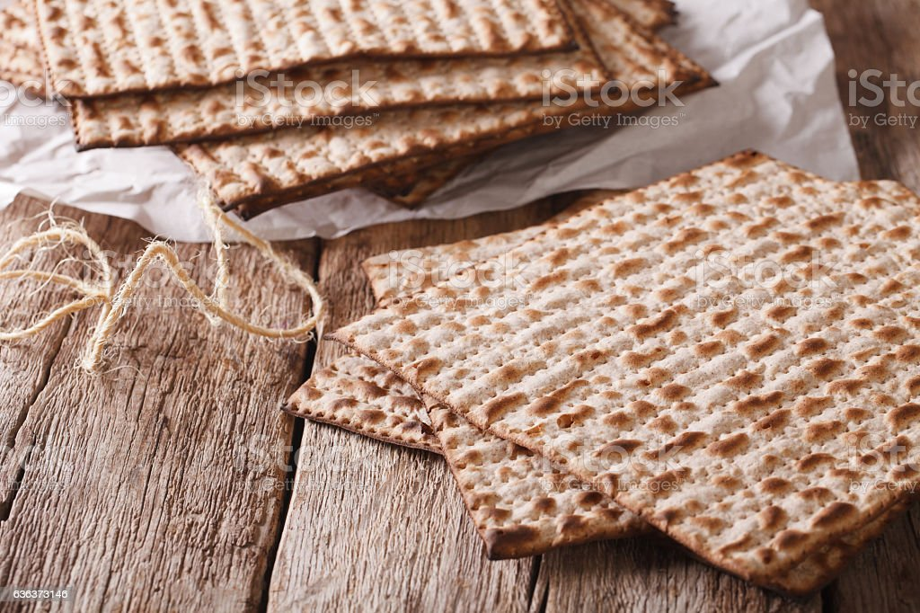 traditional Jewish kosher matzo for Passover macro on a table stock photo
