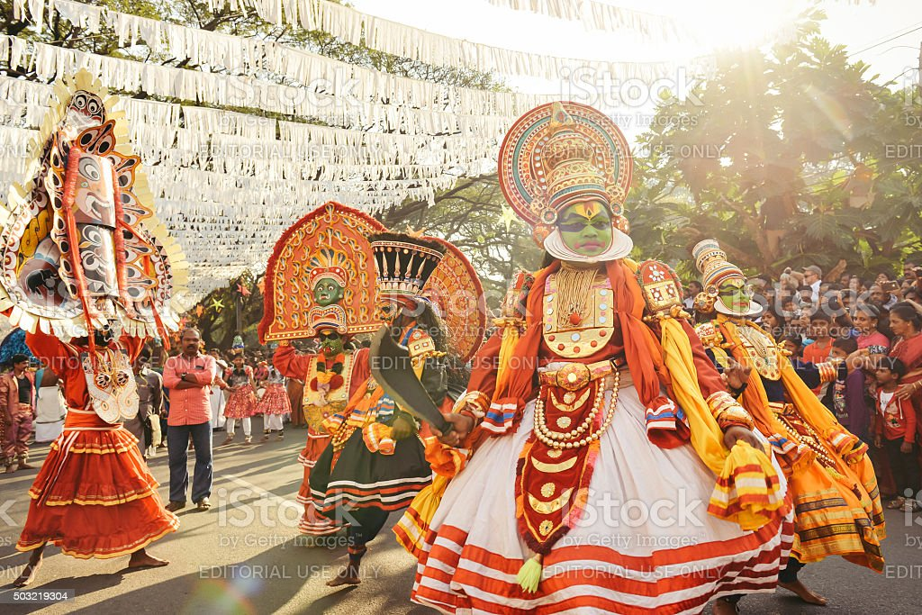Traditional Kathakali dance on New Year carnival stock photo