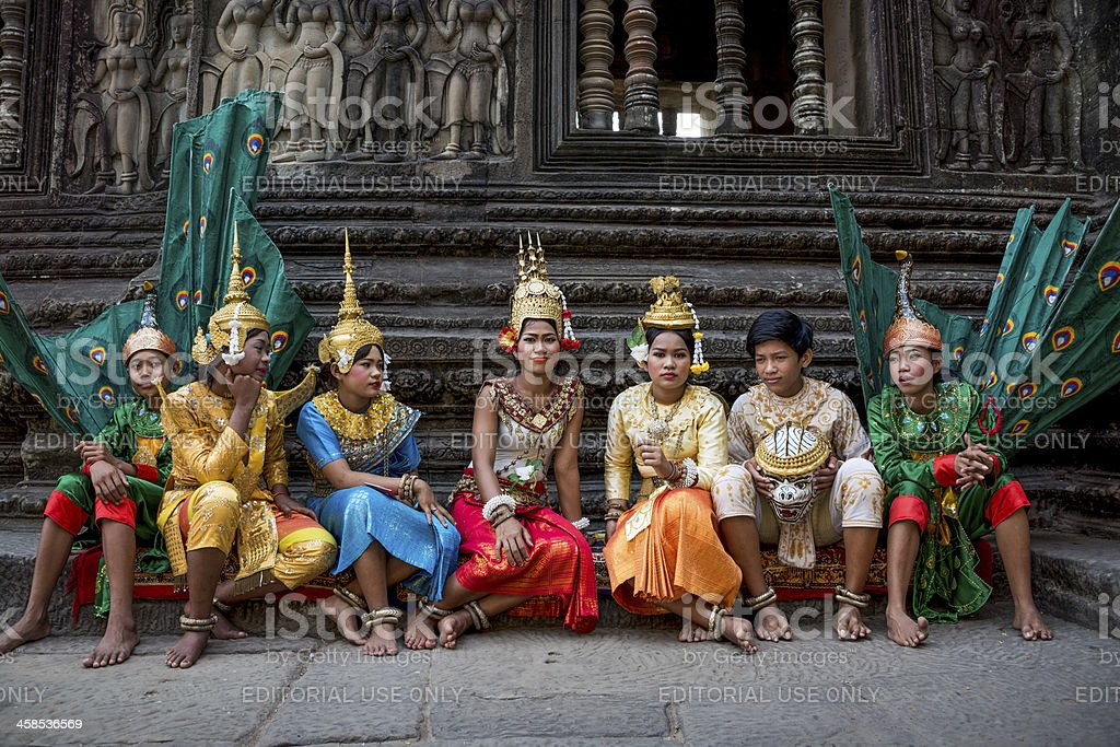 Traditional Khmer dancers. Tradition, Culture, Religion. Cambodia, Asia. royalty-free stock photo