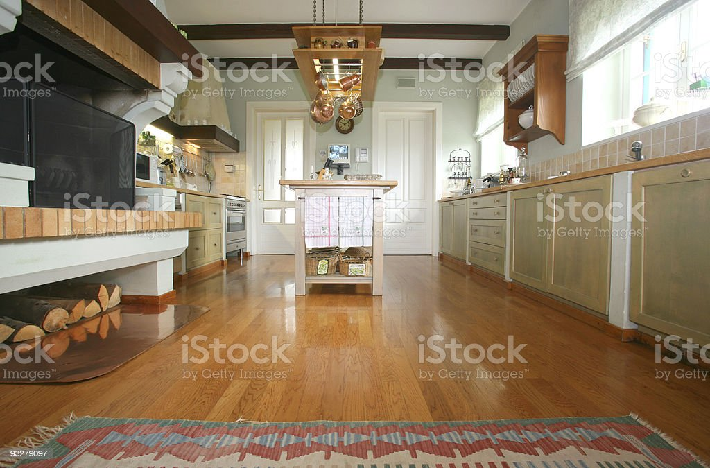 A traditional kitchen made of wood stock photo