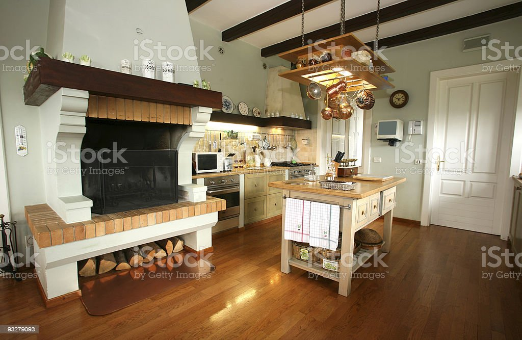 Traditional kitchen, with beamed ceiling and wood floors stock photo